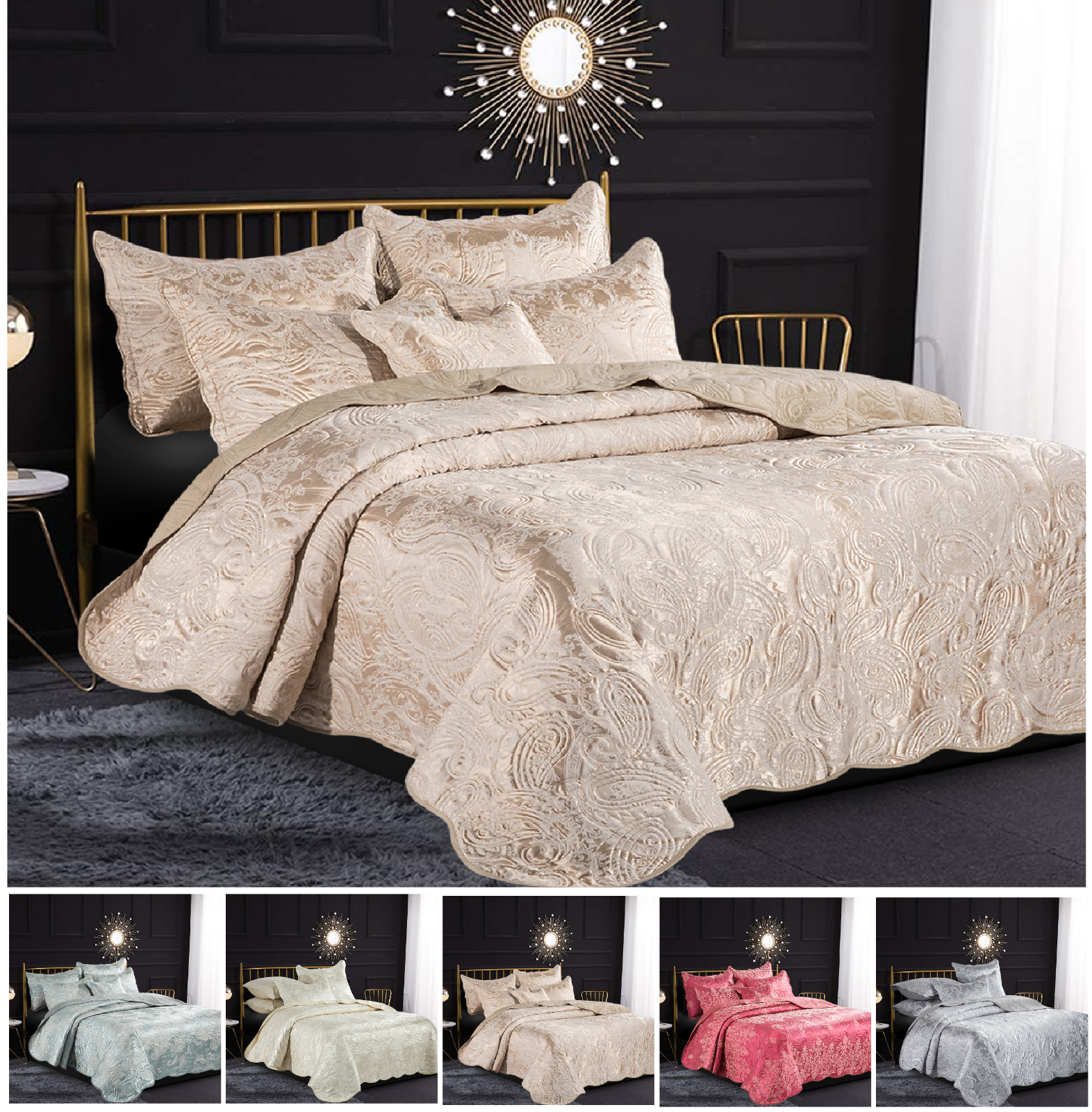 Luxury jacquard 3 piece Quilted Bedspread Coverlet Quilt Bed Cover with 2 Pillow Shams Set Luxor Cream, 3 PCs - Double
