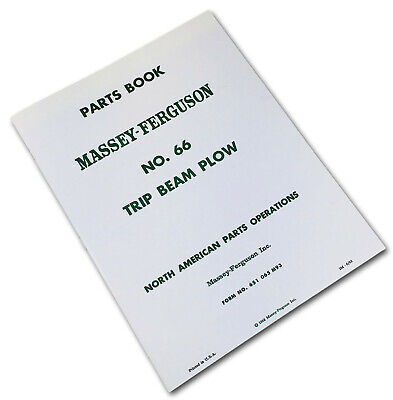 Massey Ferguson No. 66 Trip Beam Plow Parts Manual Catalog Schematic Book Mf