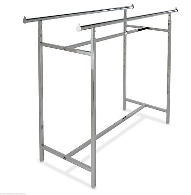 Double Rail Retail Display Rack With Adjustable Height 48-72 Chrome