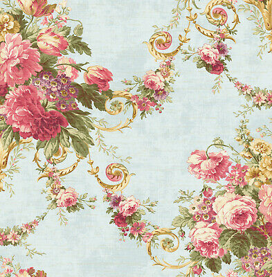 Blue and Rose Rustic Floral Faux Distressed Wallpaper Bolt -  20.5