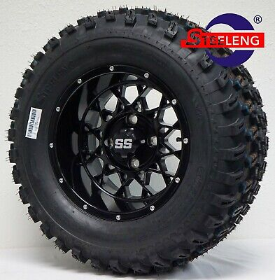 "GOLF CART 12""x7"" Black 'VENOM' WHEELS / RIMS and 23"" All Terrain TIRES SET OF 4"