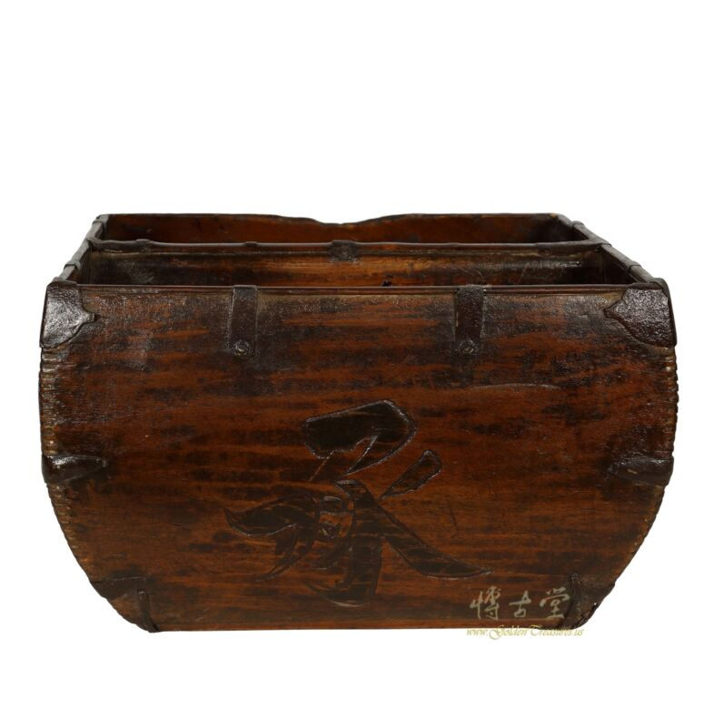 """Antique Chinese Official Wooden Rice Grain Basket """"Dou"""""""