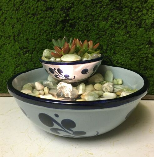 Tranquility Tabletop Fountain Vintage Salt Glazed Cobalt Blue Live Succulents
