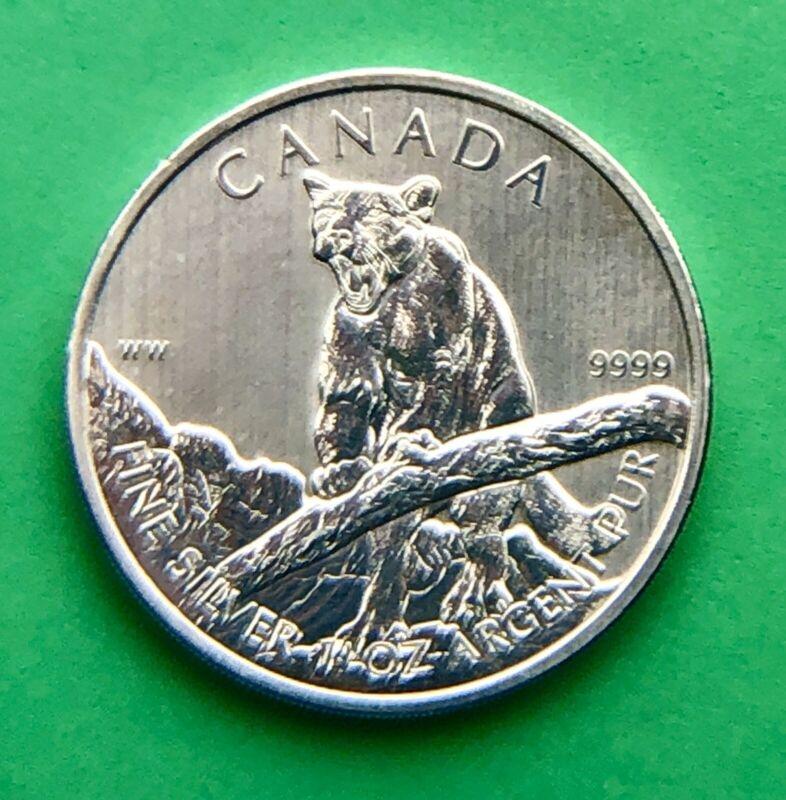 2012 Canadian Cougar $5 1oz 9999 Fine Silver Coin