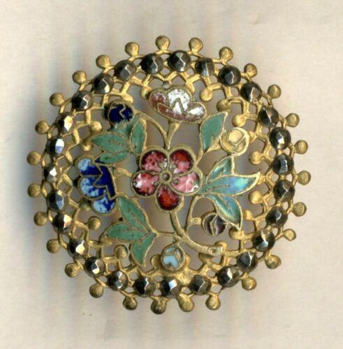 Antique Openwork Floral Enamel Button, Cut Steel Border