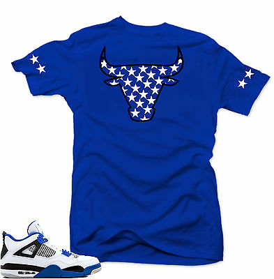 "Shirt to match Air Jordan Retro 4 Motorsport sneakers"" Bull 4 "" Royal tee"