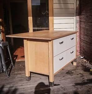 Island bench / breakfast bar - Scandi style - Blonde wood & white Cremorne Yarra Area Preview