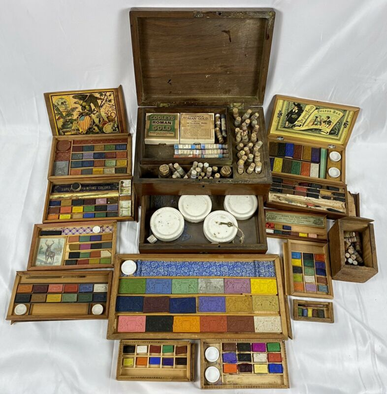 Antique Collection / Archive of Artist's Boxes Watercolor Oil Paints Pigments