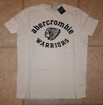 Abercrombie Boys Medium Ss White Warriors Muscle Fit T-shirt