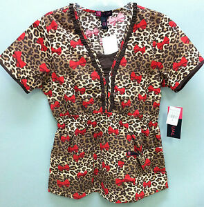 Leopard-Print-with-Bows-Baby-Doll-Style-Scrub-Top