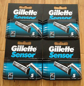 20-Gillette-Sensor-Regular-Shaver-Razor-Blade-Refill-Cartridges-Genuine-4-Packs