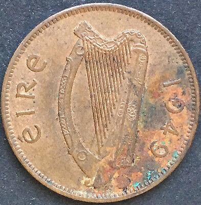 IRLAND, IRELAND, 1/2 PENNY 1949, SAU, FERKEL, TIER, FAUNA, HARFE