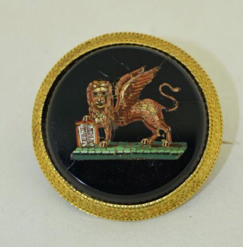 18K Etruscan Revival Venetian Lion Micro Mosaic Brooch