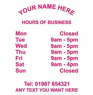 Opening Hours Times Sticker For Shops Pubs Clubs You Choose Hours and Colour OH8