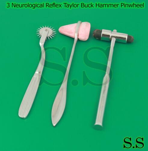 Set of 3 Neurological Reflex Taylor Buck Hammer Pinwheel Medical Diagnostic Tool