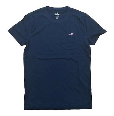 Hollister By Abercrombie & Fitch Mens Crew neck T-Shirt Free Shipping Color Navy