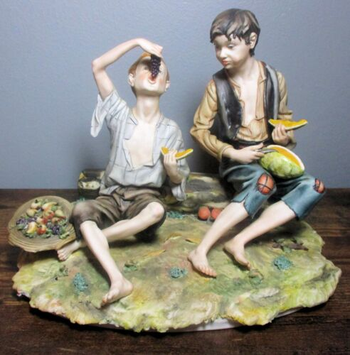 Large G. VOLTOLINA Capodimonte Sculpture, Boys Eating Fruit ~ Made in Italy