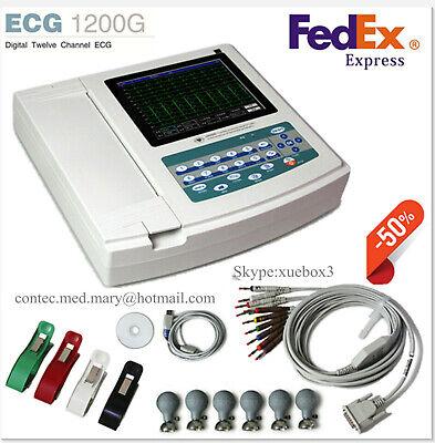 Touch Digital 12 Channel 12-lead Ecgekg 1200g Machine Electrocardiograph Us Fda