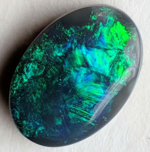 CHAFF! 5.4ct Solid Black Opal GREEN & BLUE Oval from Lightning Ridge!