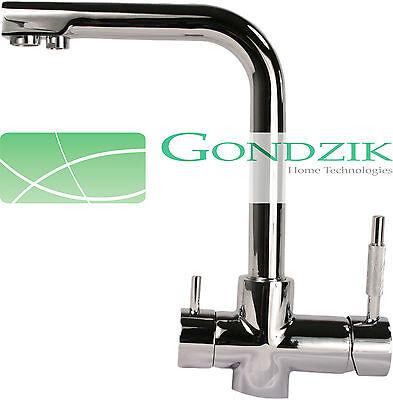 GONDZIK 3 Wege Wasserhahn 3 in 1 Armatur chrom für Umkehr Osmose
