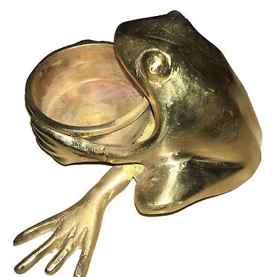 Frog Brass Candle Holder Stand Temple Oil Wick Lamp Incense Cone Burner Ashtray