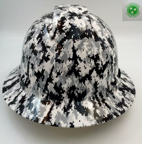 Hard Hat FULL BRIM custom hydro dipped , OSHA approved WHITE DIGITAL CAMO NEWEST