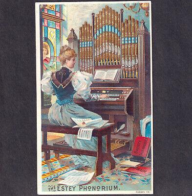 Church Organ Estey Phonorium Brattleboro VT 1800s Factory View Victorian Ad Card