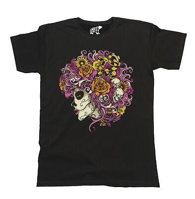 Day Of The Dead Girl Skeleton T-Shirt Mens Ladies Unisex Top Snake Skull Hair](Day Of The Dead Hair)
