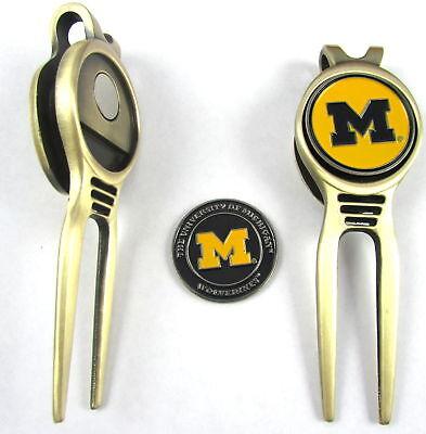 Michigan Wolverines Divot Tool (NCAA Golf Divot Repair Tool Beltclip w/ Ballmark Bronze Michigan Wolverines)