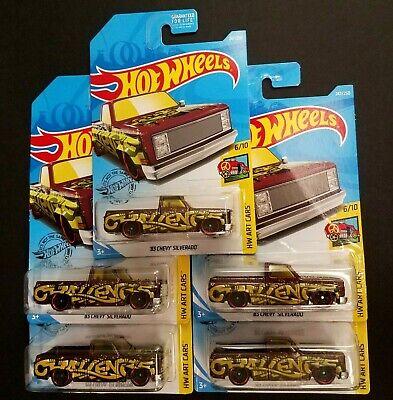 2019 Hot Wheels '83 Chevy Silverado Spuarebody Pickup ~ Lot of 5 ~ Box Ships