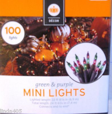 100 MINI PURPLE/GREEN STRING LIGHTS INDOOR/OUTDOOR 24' HOUSE, TREES, DECORATION Low Voltage Mini Housing