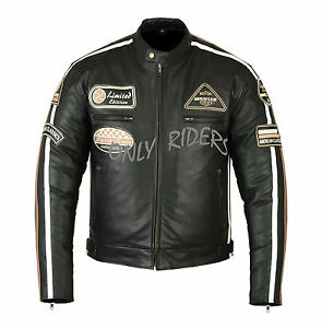 Chaqueta-Con-PArches-Cuero-Moto-Leather-Jacket-Vintage-Negro-Talla-2XL