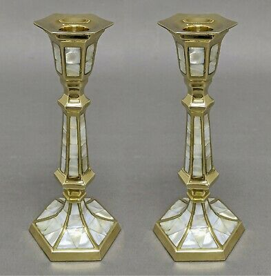"""Candle Holder Brass Mother of Pearl Inlay Hexagonal  3""""Wide 8""""High  Set of 2"""
