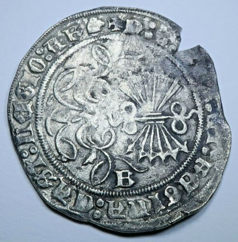 1474-1504 Ferdinand and Isabella Spanish Silver 1 Reales Antique Columbus Coin