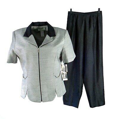 Perceptions Womens Pant Suit Petite 12P Short Sleeve 2 Pc Black Zip Lightweight