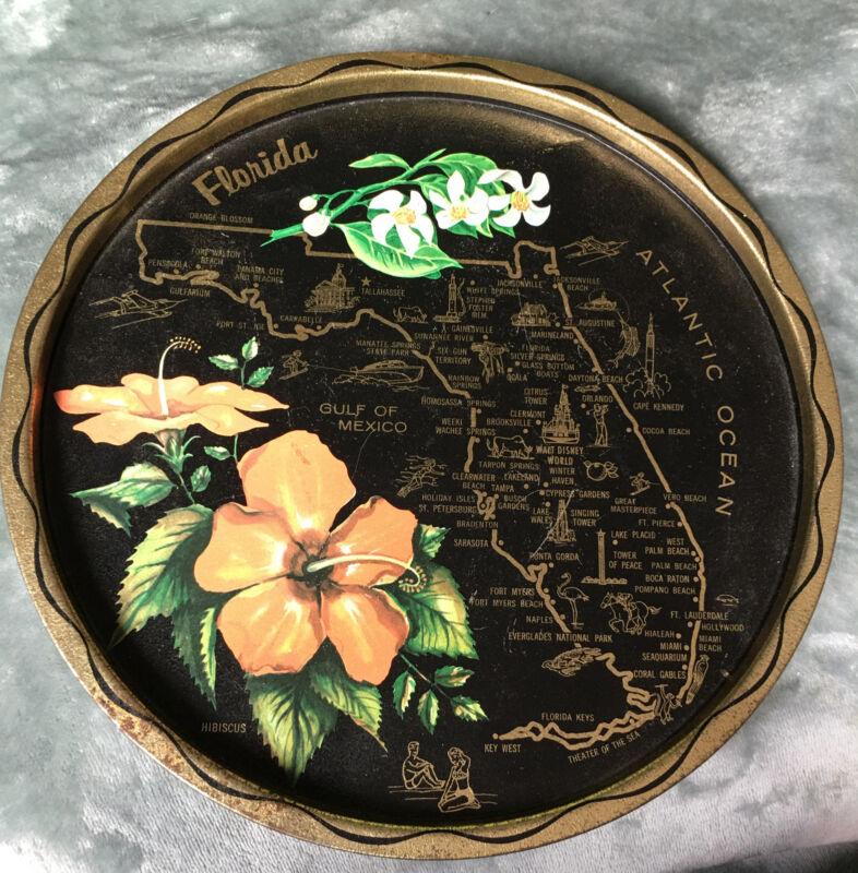 Vintage 1960s Florida State Decorative Metal Collectors Tray Souvenir