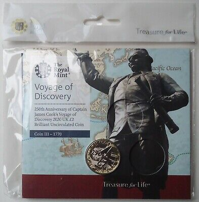 Royal Mint ~ 2020 VOYAGE OF DISCOVERY £2 Two Pounds CAPTAIN COOK ~ BUNC Sealed