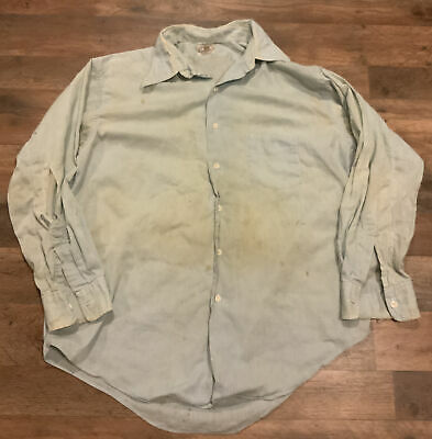 1940s Men's Shirts, Sweaters, Vests Vintage 1940's Brent Snforized Mens Work  Shirt Glass Buttons Mechanics Miners $75.00 AT vintagedancer.com