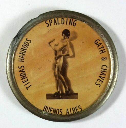 OLD SPALDING GOLD ADVERTISING POCKET MIRROR - NUDE WOMAN RISQUE
