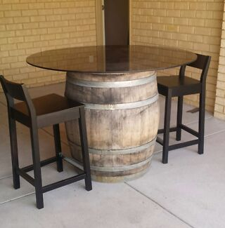 Full wine barrell with round glass top Balcatta Stirling Area Preview