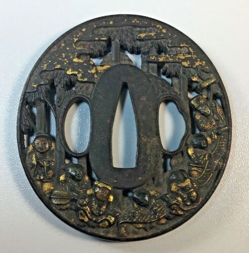 ANTIQUE JAPANESE SWORD TSUBA 7 PEOPLE READING SCROLL With BAMBOO SCENE