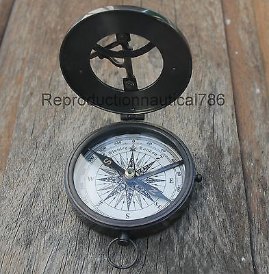 Antique Brass Sundial Style Compass Nautical Working Compass Marine Desktop Gift