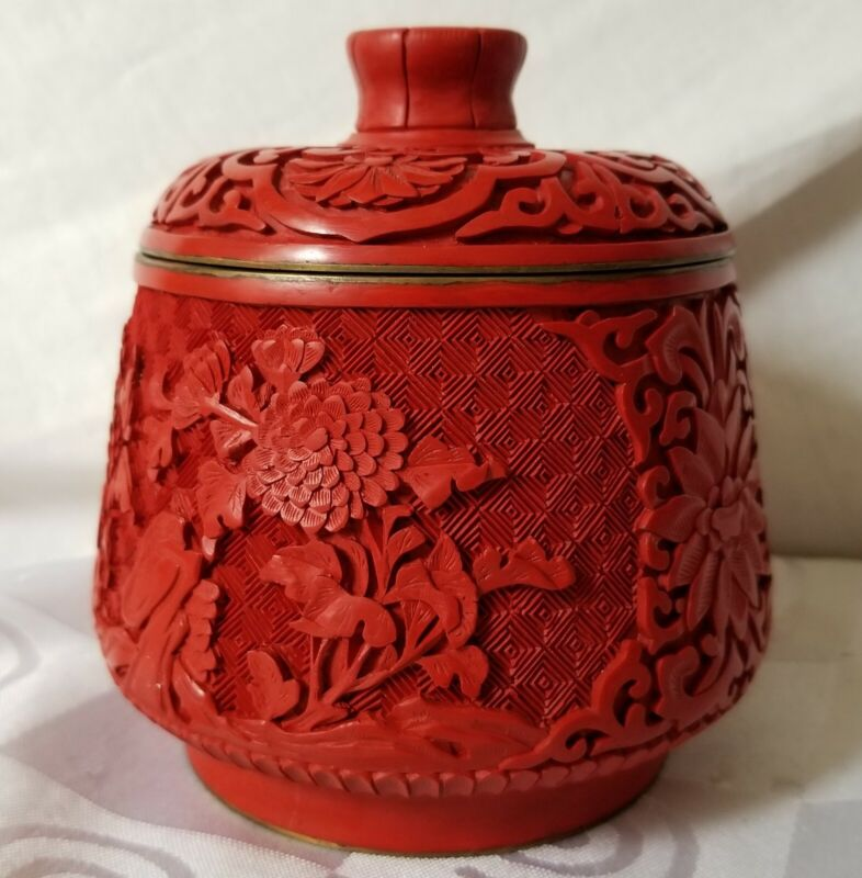 Chinese Carved Cinnabar Jar Red Lacquer Brass Lidded Canister Floral Lid Carving