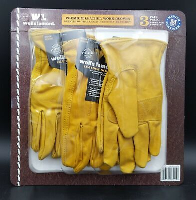 Wells Lamont Premium Leather Work Gloves 3pk Medium