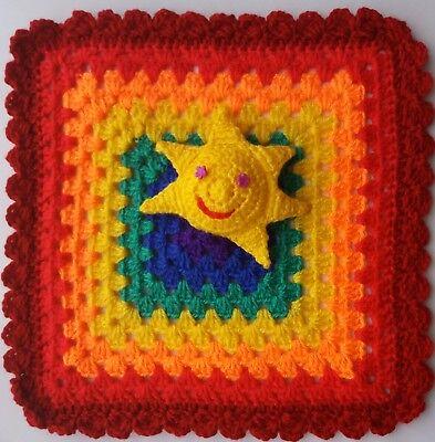 HANDMADE CROCHET RAINBOW BABY SUN COMFORTER BLANKET 31x 31cm