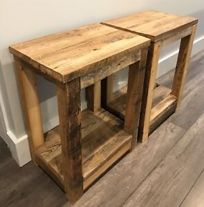 Set of 2 Rustic Reclaimed Barn Wood Side Tables / Night Stands