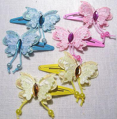 Ch19 - lot 2 barrettes pince à cheveux clic clac papillon dentelle strass enfant