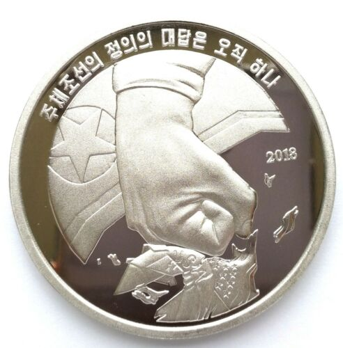 "L3268, Korea ""Destroy the United States"" Large Proof Coin, 2018 Alu, Rare!"