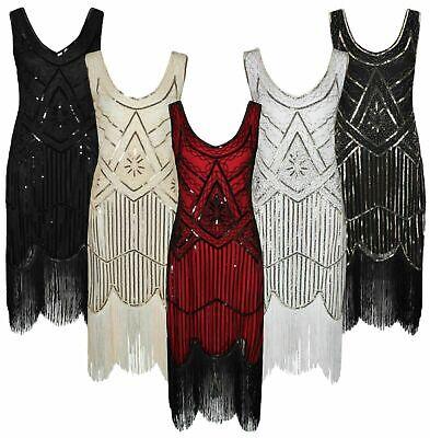 r Jahre Charleston Kostüm Kleid Dress Flapper Fransen Gatsby (Gatsby Kleider Kostüme)