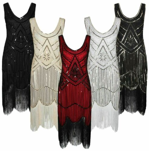 Damen 20er 30er Jahre Charleston Kostüm Kleid Flapper Fransen Gatsby Party Kleid